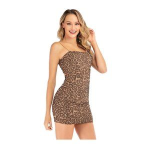 Leopard Spot Backless Bodycon Mini Dress